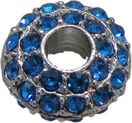 01853 Rondel Rhinestone Metaalkleurig / Blauw 8mmx16mm