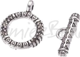 00220 Kapittelslot bedrukt Antiek zilver (Nickel vrij)