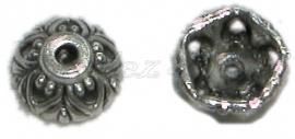 01916 Kralenkap fleur Antiek zilver (Nickel vrij) 4mmx10mm 11 stuks