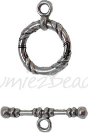 00166 Kapittelslot gekerft Antiek zilver (Nikkel vrij) 22mm 3 stuks
