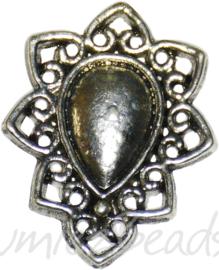 04157 Bedel druppel Antiek zilver (Nikkelvrij) 26mmx20mmx2mm 3 stuks