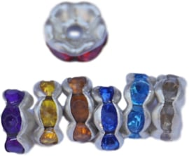 00271 Rondel wavy Rhinestone Mix color 6mmx4mm; gat 1,5mm 7 stuks
