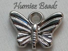 02296 Metallook bedel vlinder Tibetaans zilver 15mmx9mm 11 stuks