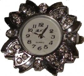 00128 Horloge bling Metaalkleurig/Chrystal  1 stuks
