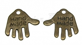 00427 Bedel hand made Antiek brons (Nickel vrij) 11mmx12mm