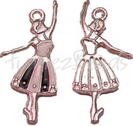 00278 Bedel balletdanseres Antiek zilver/wit/zwart 31mm15mm