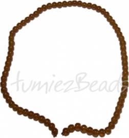 03497 Glaskraal streng (±40cm) imitatie jade Bruin 6mm 1 streng