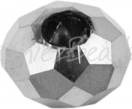 00621 Glaskraal imitatie swarovski Zilverkleurig 14mmx8mm; gat 5mm 3 stuks