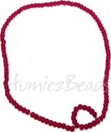 03450 Glaskraal streng (±30cm) imitatie jade Rood 4mm 1 streng
