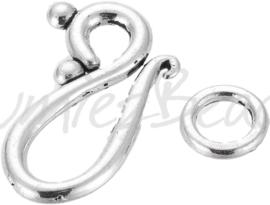02962 Haakslot glad Antiek zilver (Nikkelvrij) 20mmx12mm 6 stuks
