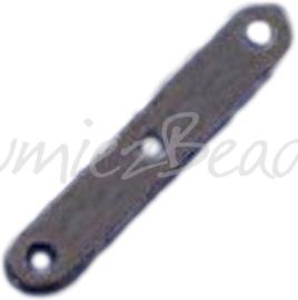 04145 Tussenstuk 3-gaats Zwart (Nikkelvrij) 20mmx3mm; gat 1,5mm ±20 stuks