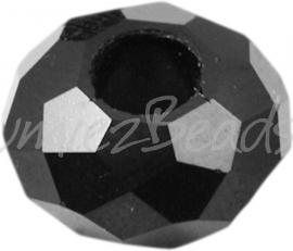 00165 Glaskraal imitatie swarovski Zwart 14mmx8mm; gat 5mm