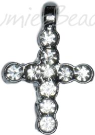 02447 Bedel bling kruis Metaalkleurig / chrystal 20mmx14mmx3mm 1 stuks