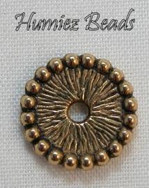 02483 Spacer wiel Antiek goud (nikkelvrij) 12mmx2mm 11 stuks