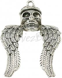00908 Hanger doodshoofd vleugel Antiek zilver (Nickel vrij) 58mmx41mmx8mm 1 stuks
