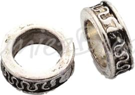 01073 Gesloten ring rondelle Antiek zilver (Nickel vrij) 11mmx4mm; gat 7mm 8 stuks