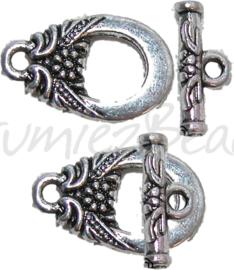 00436 Kapittelslot daisy Antiek zilver (Nikkel vrij) 19mmx11mm 4 stuks