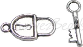 00037 Knebelverschluss slot met sleutel Antiksilber 3 stück