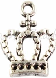 00992 Bedel kroon Antiek zilver (Nikkelvrij) 14mmx10mm 11 stuks