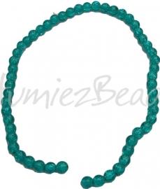 01281 Glaskraal crackle streng ±40cm Blauw 8mm 1 streng