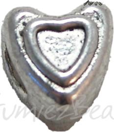 00364 Pandorastijl hartje in hart Antiek zilver 9mmx9mm