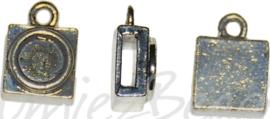 03936 Leerschuiver cabochonsetting met oog Antiek zilver 13mmx9mmx0,8mm; gat 6mmx2mm; oog 2,5mm; setting 6mm 6 stuks