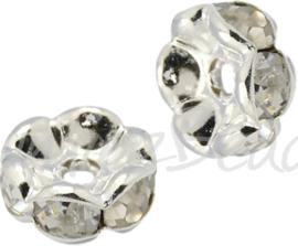 03068 Spacer rondel wavy Rhinestone Zilverkleurig (Nickel vrij) 4mmx2mm; gat 1mm 6 stuks
