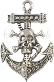 02508 Hanger anker schedel Antiek zilver (Nickel vrij) 55mmx36mm 1 stuks