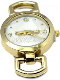 01255 Horlogekastje Goudkleurig 29mmx26mmx9mm; gat 10mmx5mm 1 stuks