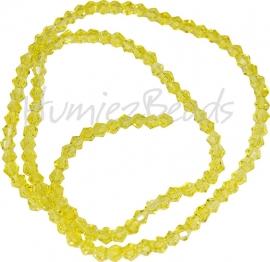 03993 Glaskraal imitatie swarovski Bicone streng ±40cm golden 4mm  1 streng