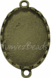 03222 Tussenstuk cabochon setting Antiek brons (Nickel vrij) 33mmx20mmx3mm; binnenzijde 24mmx18mm 1 stuks
