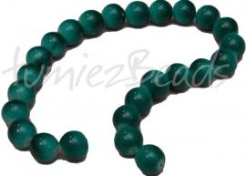 03216 Glaskraal streng (±25cm) Donker turquoise 12mm 1 streng