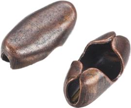 01536 Metaal klemmetje voor ball-chain  Antiek koper (Nikkelvrij) 5mmx2,5mmx2mm; voor 1,5mm ball chain 12 stuks