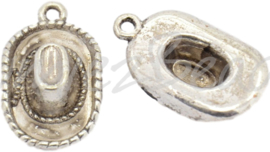 02350 Bedel Cowboyhoed Antiek zilver (Nikkelvrij) 22mmx13mmx5mm; gat 2mm