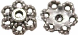 00776 Kralenkap net Antiek zilver (Nikkel vrij) 3mmx10mm 15 stuks