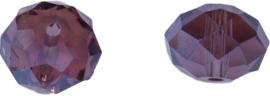 00289 Glaskraal Imitatie Swarovski 5040 briolette Red Topaz ab 8mmx10mm 6 stuks