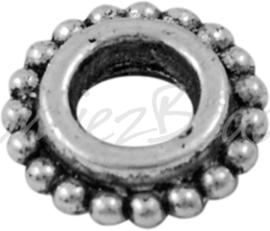02081 Gesloten ring daisy Antiek zilver (Nickel vrij) 8mmx2,5mm; gat 4mm 15 stuks