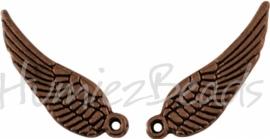 03261 Bedel vleugel Antiek koper (nickel vrij) 16mmx5mm