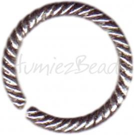 00042 Ronde ring twisted Antiek zilver (Nikkel vrij) 13mm 11 stuks