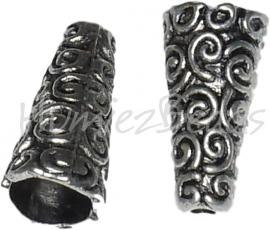 01472 Eindkap Krul Antiek zilver (Nikkelvrij) 18mmx9mm; gat 7mm~2mm 4 stuks