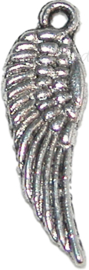 00088 Bedel vleugel Tibetaans zilver 16mmx6mm 11 stuks