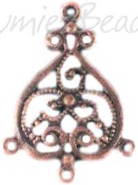 00158 Verdeler ornament Antiek koper (Nikkelvrij) 36mmx26mmx1,5mm; oog 1,5mm 6 stuks