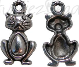 00420 Bedel kat Antiek zilver (Nikkel vrij) 20mmx11mm