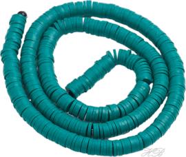 04532 Klei kralen streng ±20cm Katsumi /Heishi Blauwgroen 4x0,5~1mm; gat 1mm 1 streng