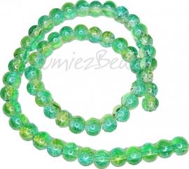 02128 Glaskraal crackle streng ±40cm Groen-geel 8mm 1 streng