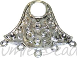 04203 Verdeler klok Antiek zilver (Nikkelvrij) 28mmx30mmx2mm; oog groot 8mmx6mm/ oog klein 1,5mm 3 stuks