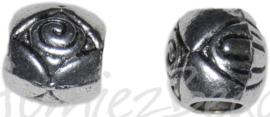 01700 Metalen kraal eye met groot gat Antiek zilver 8mmx8,5mm; gat 4mm 7 stuks