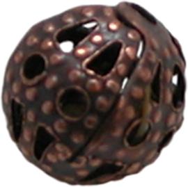 01756 Filigraan kraal Koper 6mm 20 stuks