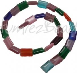 01401 Cats eye streng (35cm) rechthoekig Mix color 14mmx10mmx2mm 1 streng