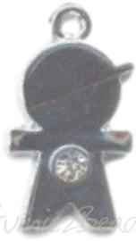 04262 Bedel jongetje bling Metaalkleurig (Nikkelvrij) / Chrystal 24mmx13mmx3mm; gat 2mm 1 stuks